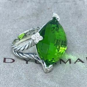 David Yurman 20mm Peridot Sterling Cushion Ring
